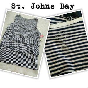 St Johns Bay 4 Tier Sleeveless Summer Top B & W